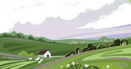 Color vector illustration in pastel colors of the countryside with a house, hills, plants, and sheep eating grass.