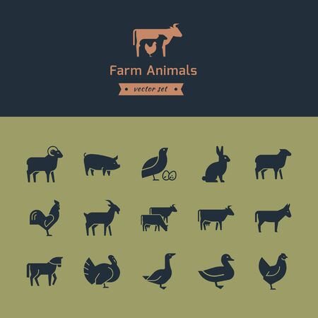 Set of meat animals icons with animals in profile. Vector collection made in retro style. Logos, badges and design elements. Ilustração