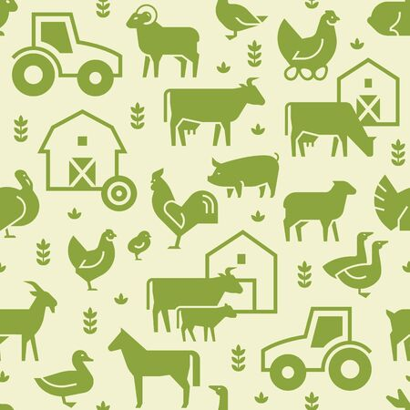Seamless vector pattern of farm animals, buildings, equipment and other elements in green. Consists of vector flat icons.