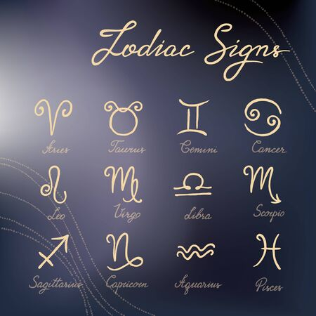 Vector set of hand-drawn zodiac signs icons on various backgrounds. Illustrations of the zodiac signs and calligraphy handwritten names. Simple and minimalistic. Zodiac signs for Internet and print.