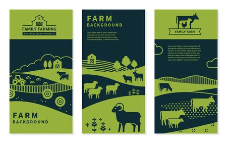 Set of vector banners on rural themes, farm background, family farming. Great for print and internet.  イラスト・ベクター素材