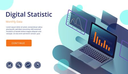 Laptop monitor with infographic elements. Technology concept with the modern design of weekly and annual graphs, data analysis and digital statistics. 3d vector isometric illustration. Ilustração