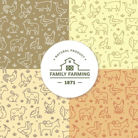 Set of four seamless vector patterns of farm animals, buildings, equipment and other elements in various colors. Consists of vector flat icons.