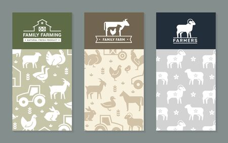 Set of vector banners with backgrounds on rural themes, farm backgrounds, family farming. Great for print and internet.