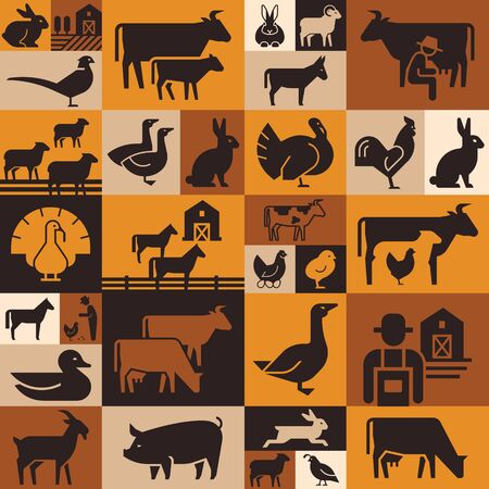 Seamless pattern of various farm animals on dark backgrounds from vector icons in flat style.