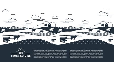 Vector template, banner or first screen for a landing page with place for text, an illustration of a rural farm with agricultural equipment in a linear style. Black and white illustration.