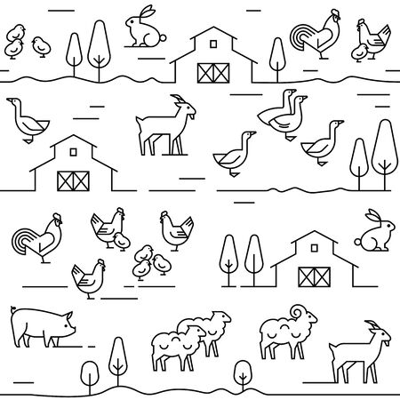 Seamless vector pattern of farm animals, buildings, equipment and other elements in black and white colors. Consists of a vector line icons style.