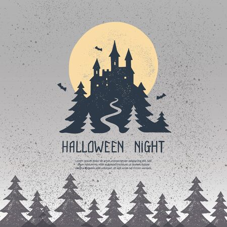 Happy Halloween square banner template, flyer, postcard, letter. A scary, frightening illustration of a dark forest and an old castle and the moon. Autumn holiday night spooky background with letters