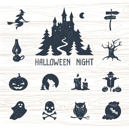 Halloween postcard template decoration. Halloween night vector set of modern simple retro-style icons for decoration and printing. Logo stylization.