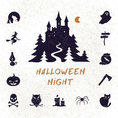 Halloween night vector set of modern simple retro-style icons for decoration and printing. Logo stylization. Postcard template. Illustration