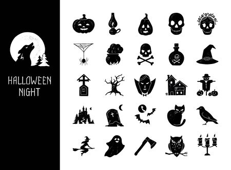 Halloween vector set of modern simple retro-style icons for decoration and printing.