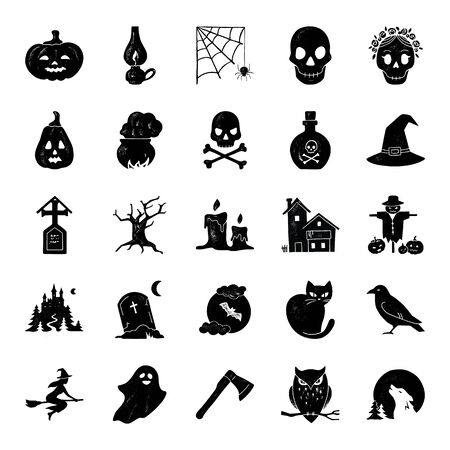 Big Halloween vector set of modern simple icons in retro style.