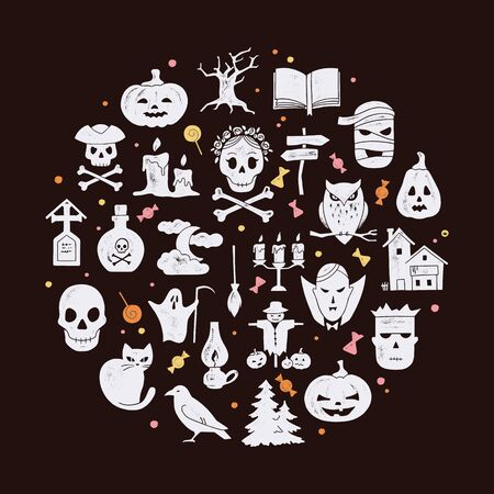 Circular template Halloween postcard decoration. Halloween night vector set of modern simple retro-style icons for decoration and printing.