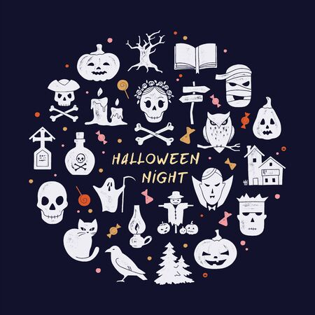 Circular template Halloween postcard decoration. Halloween night vector set of modern simple retro-style icons for decoration and printing. Logo stylization. Stock Illustratie