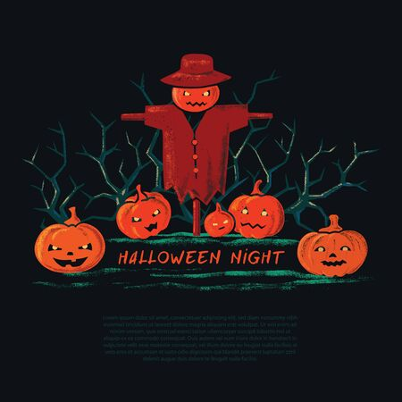 A scary, frightening illustration of a dark scarecrow on the background of the pumpkins. Autumn holiday night spooky background with letters. Stock Illustratie