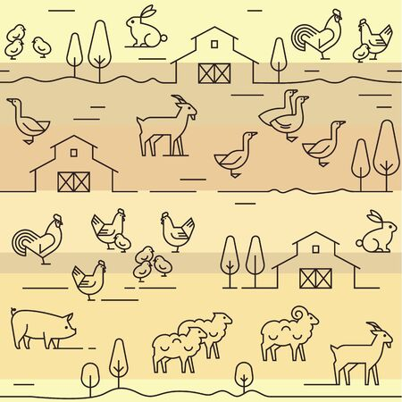 Seamless vector pattern of farm animals, buildings, equipment and other elements in various colors. Consists of a vector line icons style. Иллюстрация