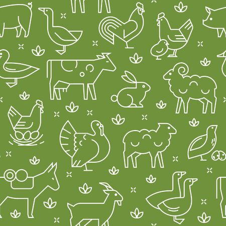 Green seamless vector pattern of farm animals, buildings, equipment and other elements in two colors. Consists of vector line style icons. Иллюстрация