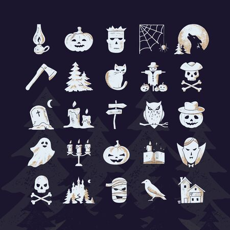 Vector icons set on theme Halloween for print or web with various icons in two colors.