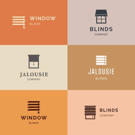 Logotypes set in vector. Vector isolated icons set of window blinds vector glyph icons. Interior design, home decor shop. Logotype collection.