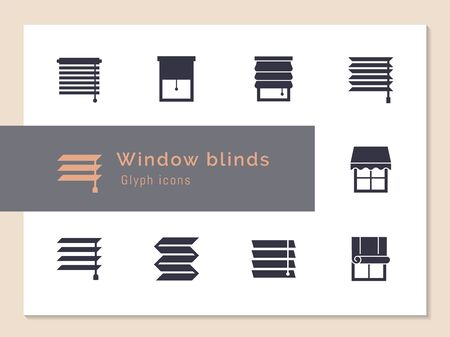 Vector isolated icons set of window blinds vector glyph icons. Window treatments and curtains glyph icons set. Interior design, home decor shop. Иллюстрация