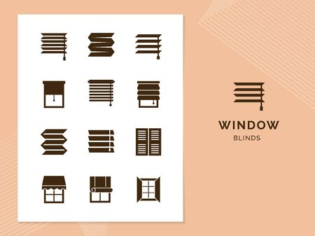 Vector isolated icons set of window blinds vector glyph icons. Window treatments and curtains glyph icons set. Interior design, home decor shop.