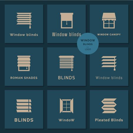 Pixel perfect logotypes set in vector. Vector isolated icons set of window blinds vector glyph icons. Window treatments and curtains glyph icons set. Interior design, home decor shop. Ilustracja