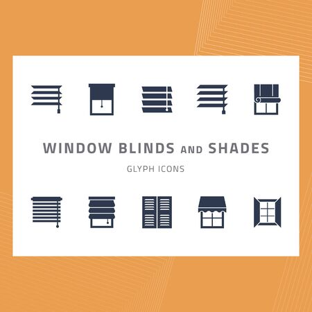 Vector glyph isolated icons set window blinds and shades. Window treatments and curtains glyph icons set. Interior design silhouette signs for house decor shop. Interior design, home decor shop.