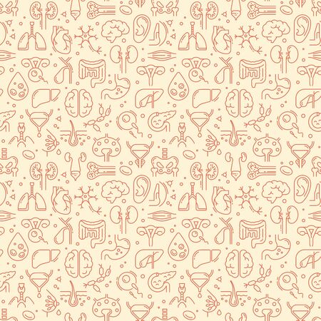 Two-color seamless vector pattern on a medical theme consisting of linear icons of internal human organs. Иллюстрация