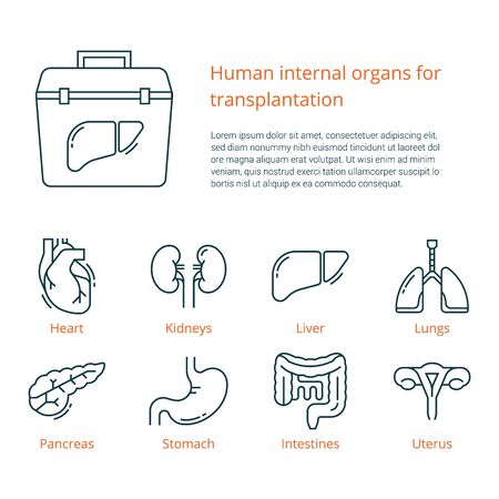 Large set of linear vector icons of human internal organs for transplantation with a place for text. Suitable for print, web, and presentations.