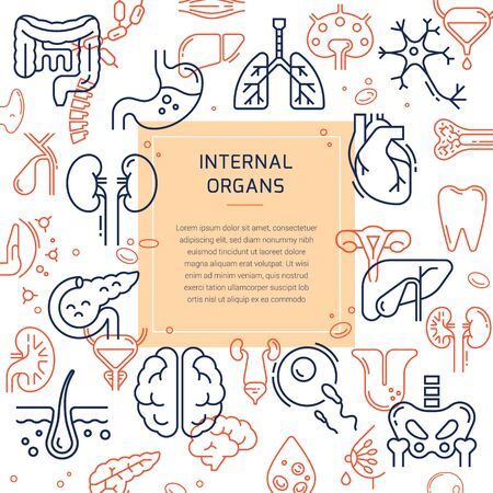 Medical template with a seamless pattern of multicolor linear icons of internal human organs and space for text for presentations, banners, web, and print. Иллюстрация
