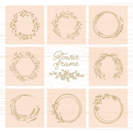 Vector set of different floral frames great for decoration, decoration. Each of the frames has a place for text and is isolated on the background. Set of frames in various colors.