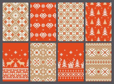 Set of christmas seamless vector pattern for print, web, and prints. Endless texture for wallpaper, web page background, wrapping paper and etc. Retro style.