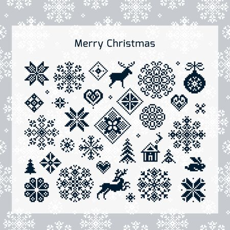 Christmas vector icon set with pattern in background for print, web, and prints. Endless texture for wallpaper, web page background, wrapping paper and etc. Retro style. Иллюстрация