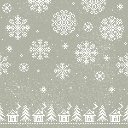 Christmas seamless vector pattern for print, web, and prints. Endless texture for wallpaper, web page background, wrapping paper and etc. Retro style.
