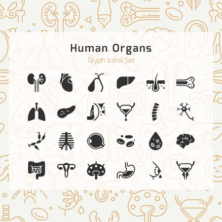 Set of vector icons of internal human organs in a linear style isolated with background of seamless medicine pattern.