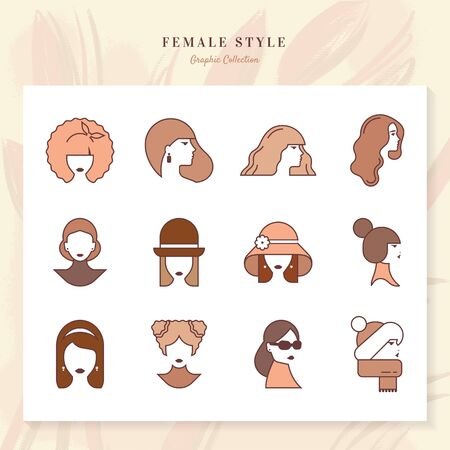 Set of vector linear silhouettes of women and girls styles isolated on white background in two colors. Beautiful young women. Portrait of a modern fashion long hair, short hair, curly hair. Ilustracja