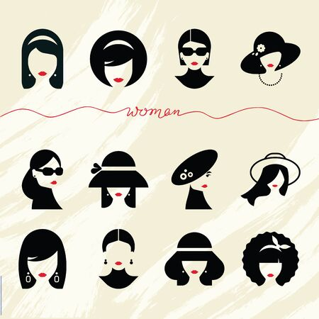 Flat collection of icons of various women with stylish hairstyles in hats and without. Modern design vector illustration female avatars set. Different types of women. Ilustracja