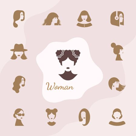 Flat icons set of various women with stylish haircuts. Modern design vector illustration avatars set. Isolated on vector background.