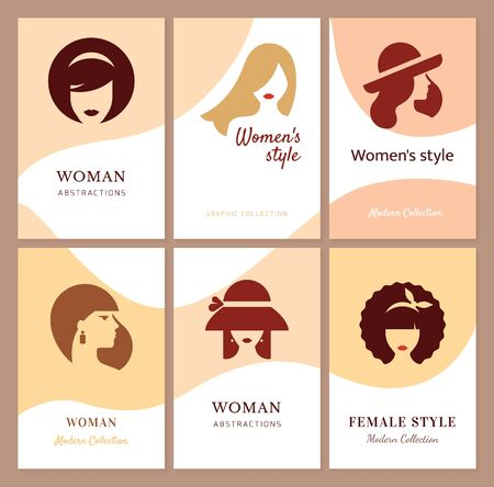 Flat icons collection of various women with stylish haircuts. Modern design vector illustration avatars set. Isolated on vector background.