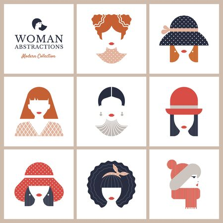 Colorful flat icons set of various women with stylish haircuts. Modern design vector illustration avatars set. Isolated on vector background.