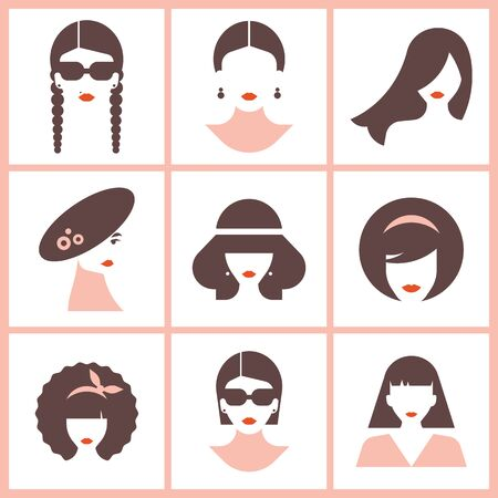 Female styles modern graphic collection in hats and without. Logotype for shops. Modern design vector illustration female avatars set.