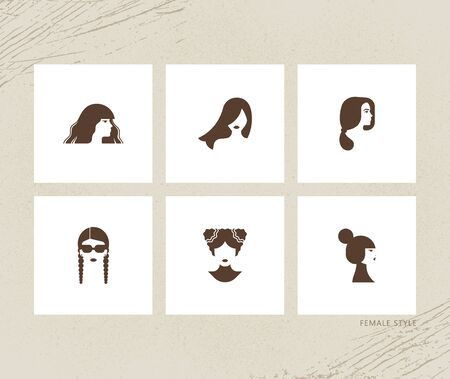 Modern design vector illustration female avatars set. Flat icon collection of various female hairstyles. Logos for online beauty shops.