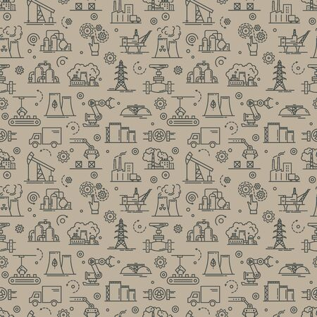 An industrial seamless background for booklets or a site consisting of linear icons on the theme of industry and production. Gray vector seamless industrial pattern.