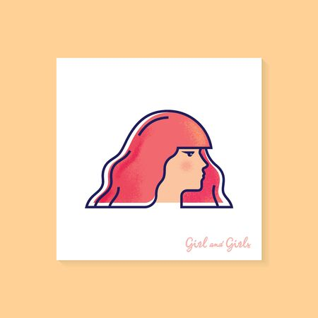 Woman with red hair. High quality color vector illustration of a woman in profile with laterings. The girl in the profile.
