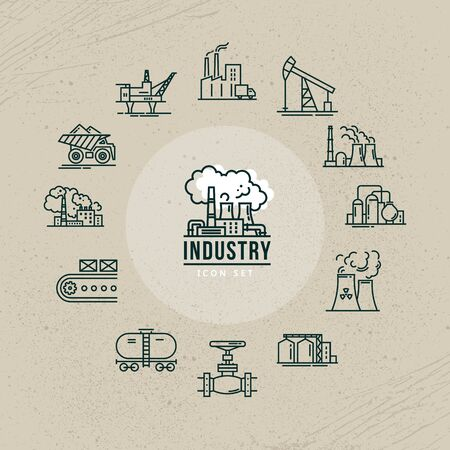 A set of industrial vector icons in linear style for a logo or infographic.