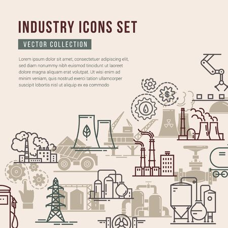 Vector collection with a set of industrial icons in linear and flat style. A banner with a place for text. Ilustracje wektorowe