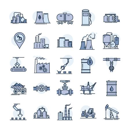 A large vector set of industry icons and production in a linear style isolated in the background. 일러스트