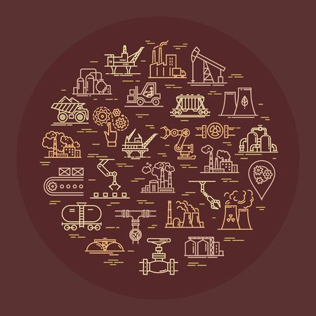 Circular vector concept consisting of linear icons on an industrial theme on a brown background.