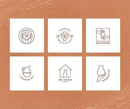 Vector layout of business card with logo for art studio, pottery or ceramic studio. Ilustração