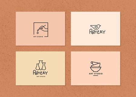 Vector layout of business card with logo for art studio, pottery or ceramic studio. Logo